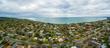 Aerial panorama of Frankston suburb nested on the Mornington Peninsula. Melbourne, Victoria, Australa