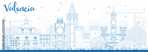 Outline Valencia Skyline with Blue Buildings.