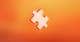Animated Puzzle Piece Red 3d Icon Loop Modules for edit with alpha matte