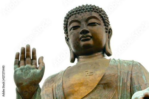Plagát Big Buddha closeup statue, Hong Kong isolated on white background