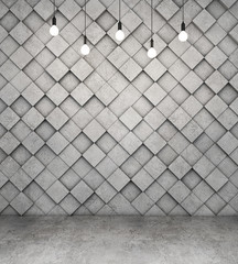 Wall of concrete cubes and concrete floor with light bulbs. 3D rendering