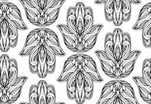 Seamless avec contour illustration de Hamsa avec motif boho. Main de Bouddha. Vecteur de fond pour les papiers peints, emballage, impression sur T-shirts et textile. motif dessiné entrecroisées main