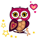 Cute owl on a white background