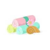 Three Pastel Color Towel Rolls Piled Mext To Shell And Flower Element Of Spa Center Health And Beauty Procedures Collection Of Illustrations