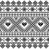 Traditional Ukrainian or Belarusian folk art knitted black embroidery pattern - 127294489