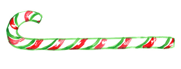 Extra long striped green and red candy cane painted in watercolor on clean white background © tina bits