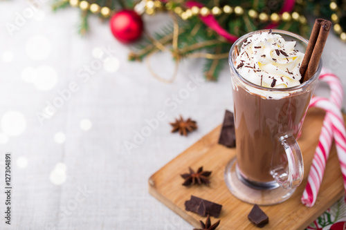 Foto op Canvas Chocolade Hot chocolate with whipped cream. Christmas table.
