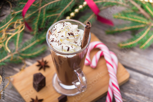 Tuinposter Chocolade Hot chocolate with whipped cream. Christmas table.