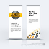 Business vector set of modern roll Up Banner stand design with g