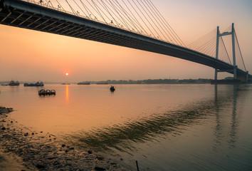 Fototapeta linowy most wiszący nad rzeką
