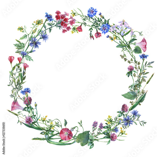 Leinwanddruck Bild Wreath border frame with summer herbs, meadow flowers. Watercolor hand painting illustration on isolate white background.