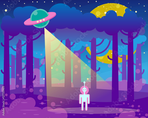 Fotobehang Violet Flat illustration about night landscape, ufo elements - alien and spaceship