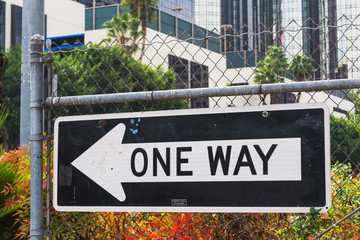 close up of a ONE WAY sign in Los Angeles