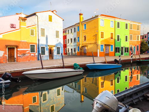 colorful streets of burano island in venice, italy Poster