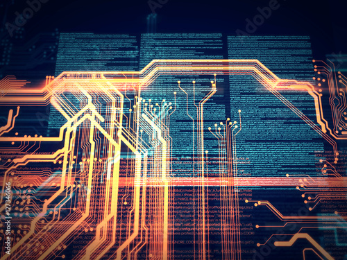 Code, HTML Technology background/PCB, Code, HTML; web programming software background; 3D illustration