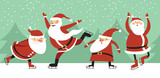Santa Clauses on ice rink