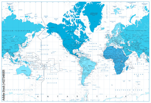 World map continents in colors of blue. America in center Poster