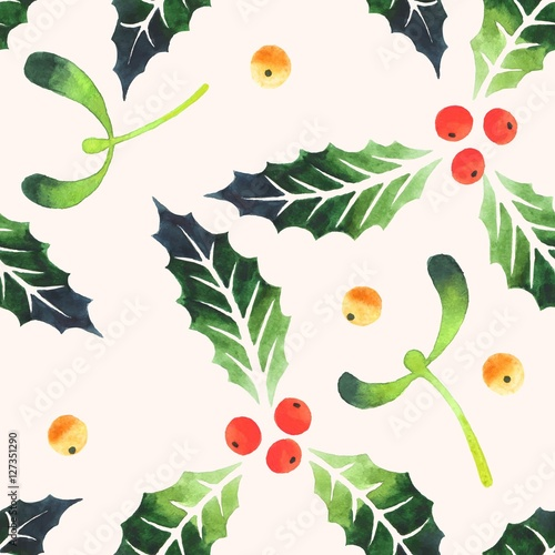 Cotton fabric Seamless mistletoe and holly