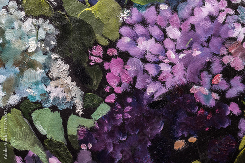 Lilac bouquet Oil painting On Canvas with texture