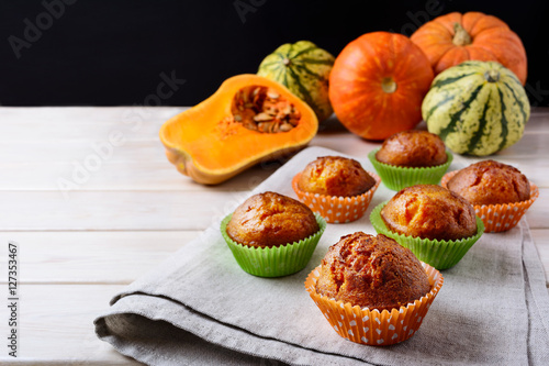 Butternut squash and honey muffins and ripe pumpkins Poster