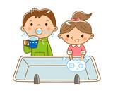 手洗いうがいする子供