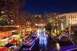 River Walk in San Antonio Texas in colorful Christmas light