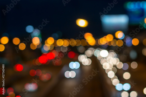 Foto op Aluminium Las Vegas blurred photo of car on the road with bokeh background of city street night light.