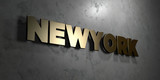 Newyork - Gold sign mounted on glossy marble wall  - 3D rendered royalty free stock illustration. This image can be used for an online website banner ad or a print postcard.