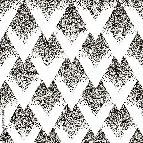 Vector seamless geometric dotted pattern. Halfton - 127369263