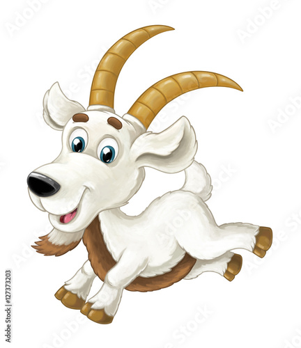 Cartoon happy horned goat is running jumping looking and smiling - artistic style - isolated - illustration for children - 127373203