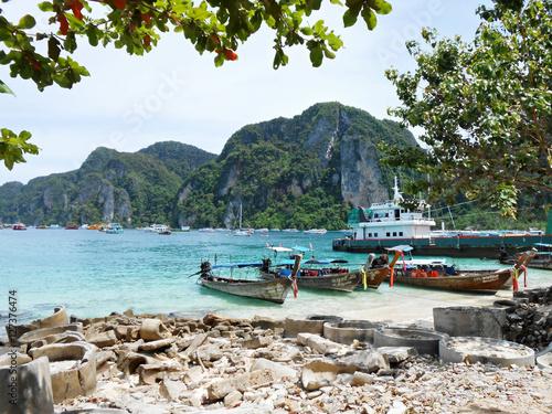 Poster Sea and Boats at Phi Phi Island