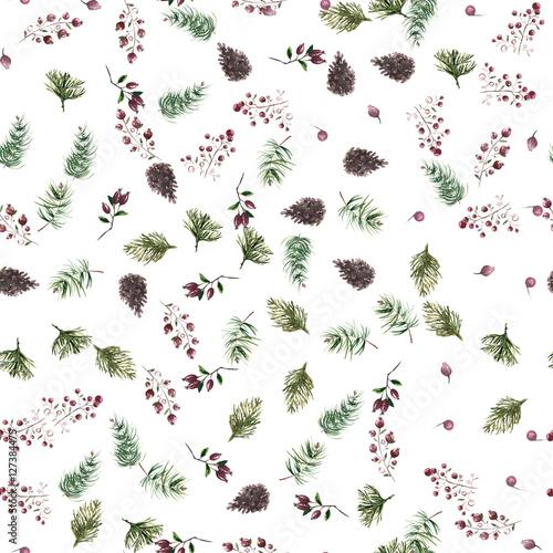 Christmas botanical watercolor pattern - 127384475