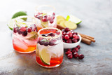 Cold winter cocktail with cranberry and lime