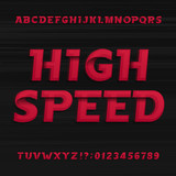 High speed alphabet font. Oblique dynamic letters numbers and symbols on a dark background. Vector typography for your design.