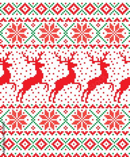 Materiał do szycia New Year's Christmas wzór pikseli