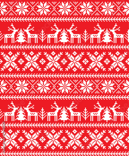 Materiał do szycia New Year's Christmas pattern pixel