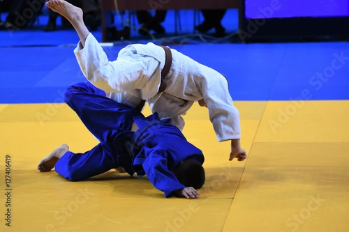 Boys compete in Judo Poster