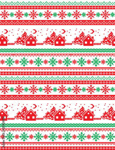 Cotton fabric New Year's Christmas pattern pixel
