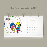 Rooster calendar 2017 for your design