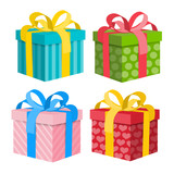 Fototapety Gift Box Set. Vector Present Boxes Isolated on White Background.