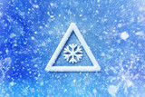 Winter snow warning symbol, snow automotive grahic background, driving winter background - 127426211