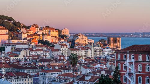 Foto op Aluminium Oude gebouw Cityscape of Lisbon, Portugal, seen from Miradouro Sao Pedro de