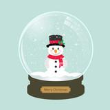 christmas snowglobe with cute snowman