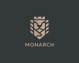 Lion face king vector logotype. Royal handshake deal contract crown luxury logo design. Premium sphinx business symbol.