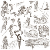 Sport - collection of an hand drawn illustrations - 127442645
