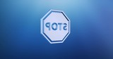 Animated Stop Blue 3d Icon Loop Modules for edit with alpha matte