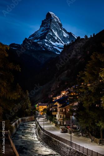 Poster Night photo of Zermatt city and Matterhorn