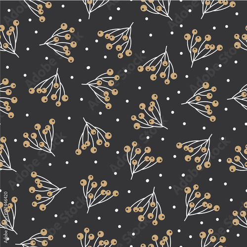 Cotton fabric Christmas seamless pattern background with branches and berries