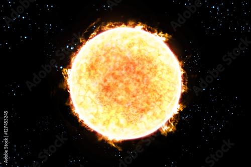 Sun Starscape 3D Illustration