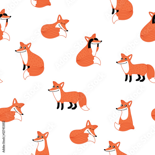 Cotton fabric Funny fox hand drawn seamless pattern